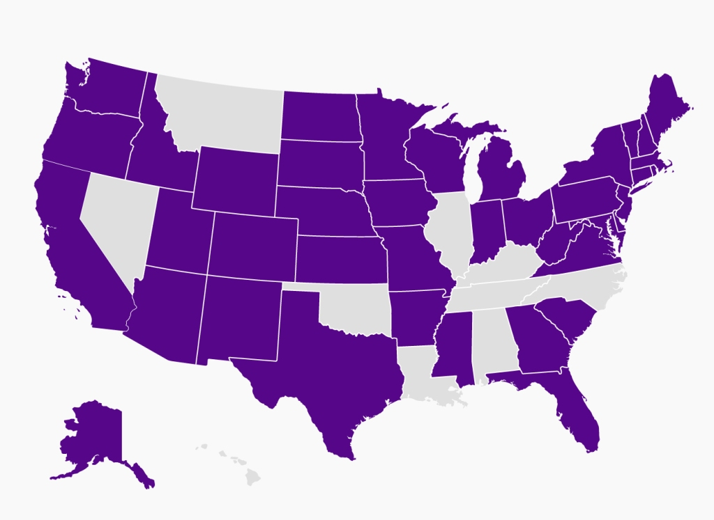 U.S. map representing the 40 states Speech NYU students build professional relationships with aspiring SLPs nationwide.